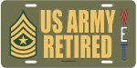 Sergeant Major E-9 US Army Retired Aluminum License Plate