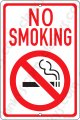 "No Smoking White/Red on an 8""x12"" Aluminum Sign"