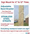"Sign Mounting Bracket Kit for 4"" to 12"" Poles - Mounts 1 Sign"