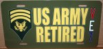 Specialist E-7 US Army Retired Aluminum License Plate