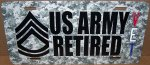 Sergeant First Class E-7 US Army Retired CAMO Alum License Plate