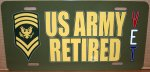 Specialist E-9 US Army Retired Aluminum License Plate