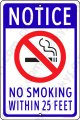 "No Smoking Within 25 Feet White/Blue on an 8""x12"" Aluminum Sign"