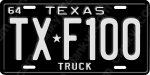 1964 Ford F100 Texas Black Novelty License Plate - USA Aluminum