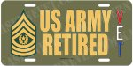 Command Sergeant Major E-9 US Army Retired Alum License Plate