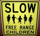 "SLOW FREE RANGE CHILDREN Sign 12""x12"" Aluminum Will Never Rust"