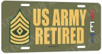 First Sergeant 'Top' E-8 US Army Retired Aluminum License Plate