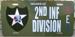 2nd Infantry Division Vet Front License Plate - Aluminum