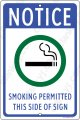 "Smoking Permitted White and Blue on an 8""x12"" Aluminum Sign"