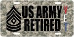 First Sergeant Top E-8 US Army Retired CAMO Alum License Plate