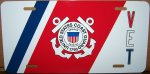 US Coast Guard VET on an Aluminum License Plate - Std Size 12x6