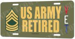 Master Sergeant E-8 US Army Retired Aluminum License Plate